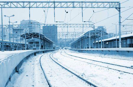 Empty train station in winter