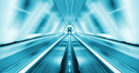 elevated walkway: abstract background of moving escalator Stock Photo