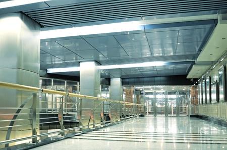 Hall with glass doors in metro