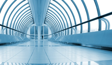 pedestrian walkway: symmetric bright metro hall