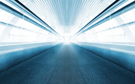 Metro escalator in glass corridor Stock Photo - 11259522