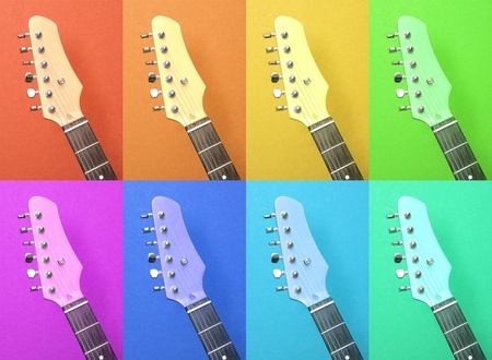 Multicolored abstract pattern of electric guitar  photo