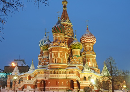 St. Basils Cathedral domes. Winter, Red square, Russia. photo