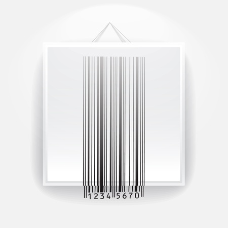 Blank frame on the wall with barcode sign. ready for your text  Vector