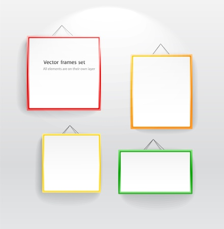 Blank color boards different sizes on wall. You can place your message on them Vector