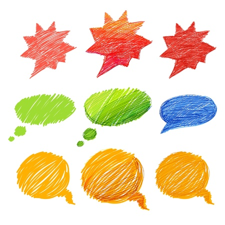say hello: Set of comic style colorful hand-drawn talk clouds