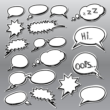 communication cartoon:  Set of comic style talk clouds