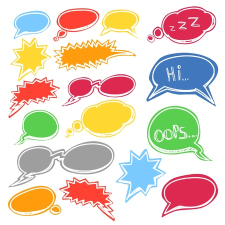 Set of colored comic style talk clouds Vector