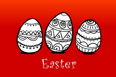 pasch: Three easter painted eggs on red Illustration