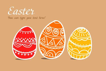 pasqua: Three easter painted eggs on brown Illustration