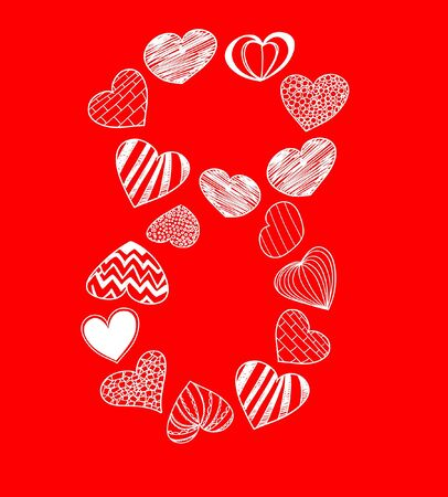 Eight of hearts on red  Vector