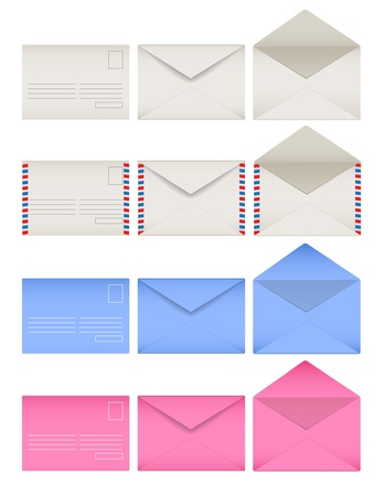 sides: Colored envelopes set. Front and back sides. Open and closed