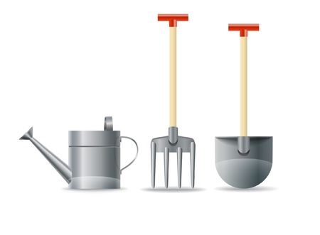 watering garden: Garden equipment Illustration