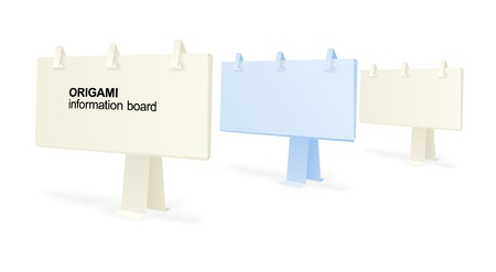 your text here: Origami information boards. Place your text here  Illustration