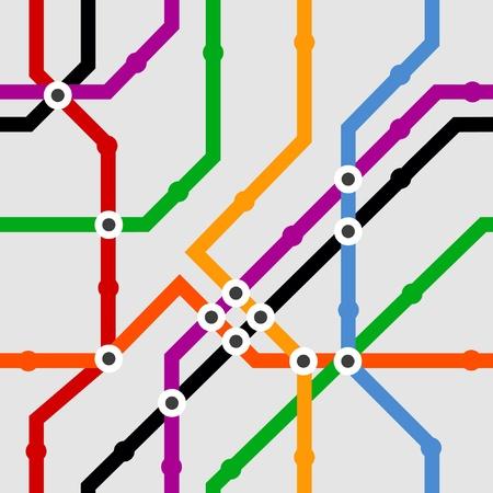 estación del metro: Color de fondo de metro esquema sin fisuras Vectores
