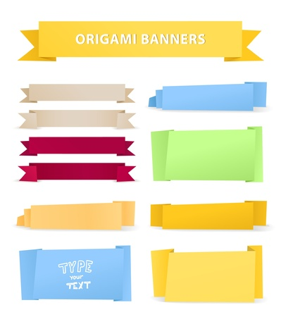 Colorful polygonal origami ribbons. Place your text here Vector