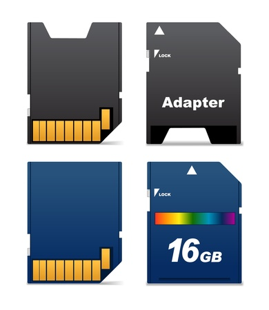 portable player: Front and back sides of digital card and adapter Illustration