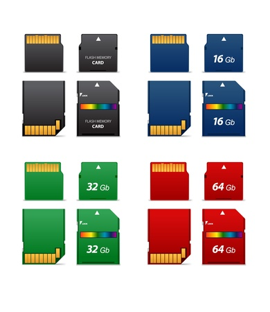 Set of flash cards differet capacity  Vector