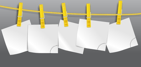 Blank paper sheets on rope Vector