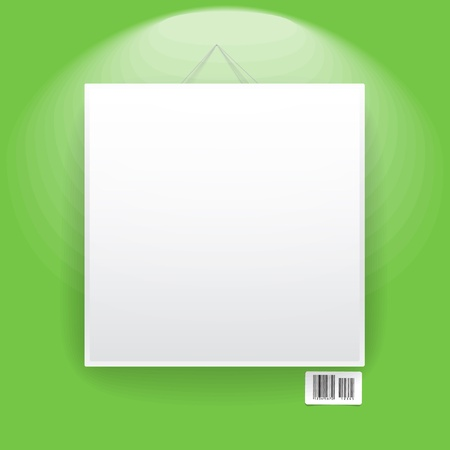 Blank frame on the green wall  Vector