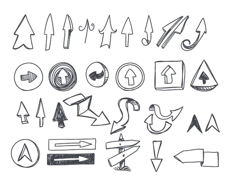 folded hands: Hand-drawn arrows set