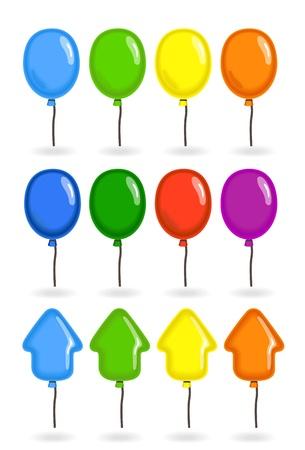 mosca caricatura: Colección de coloridos globos volando Vectores