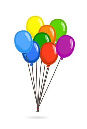 Gathered colorful flying balloons  Vector