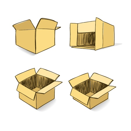 work crate: Cardboard hand-drawn set