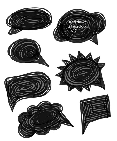 thought bubbles: Set of hand-made comic style talk clouds