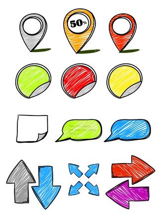Hand-drawn symbols collection Vector