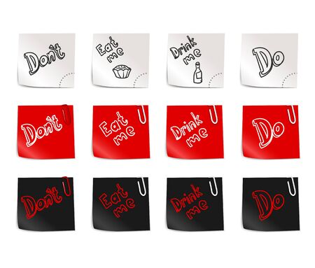 eat me: Color paper stickers template with different phrases on them