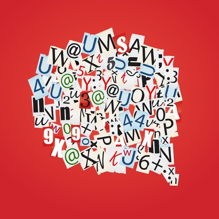 word collage: Set of vector talk bubbles of letters from newspaper and magazines  Illustration