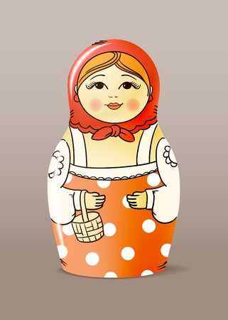 russian culture: Traditional hand-drawn painted varnished wood doll. Matrioska