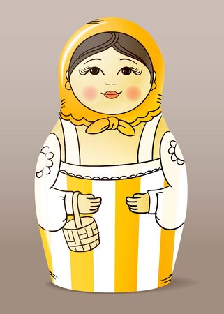Traditional hand-drawn painted varnished wood doll. Matrioska  Vector