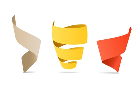 Three color origami spiral ribbons. Place your text here  Vector