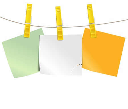 binder clip: Color blank paper pieces on rope Illustration