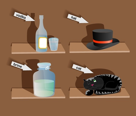 Things on shelves illustration Vector