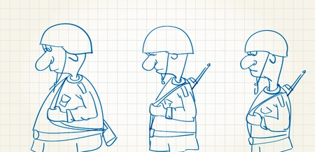 army men: Comic picture of walking soldiers