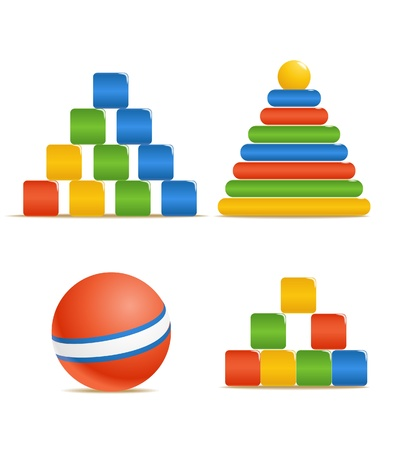 Wood color toys. Pyramid, ball, cubes. Vector