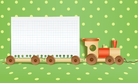 important notice: Toy railway background. Template for a text