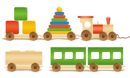 wood railway: Wooden color toys. Pyramid, train, cubes.