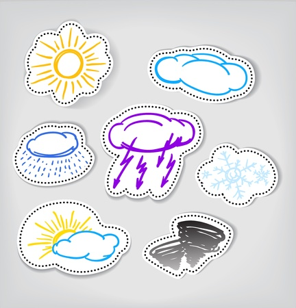Hand-drawn weather color icons set Vector