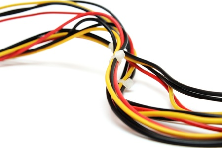 power cables: Colorful computer wires Stock Photo