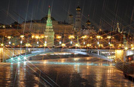 Moscow kremlin. night view. X-cross effect photo