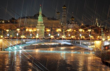 Moscow kremlin. night view. X-cross effect photo