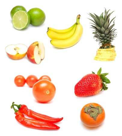 Collection of red fruit and vegetables isolated on white Stock Photo - 11371375