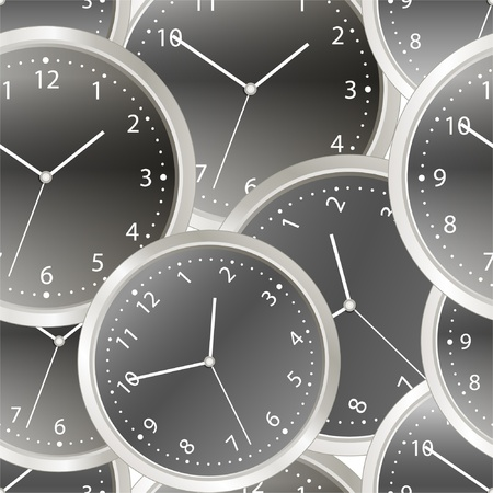 night time:  Black steel modern clock with white arrows. seamless background