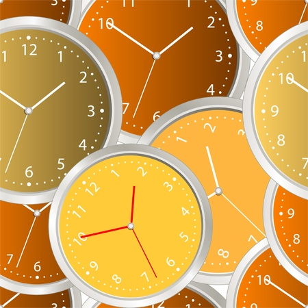 Colorful steel modern clock. seamless background Vector