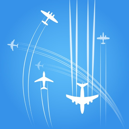 Transport and civil airplanes trajectories Stock Vector - 11430494