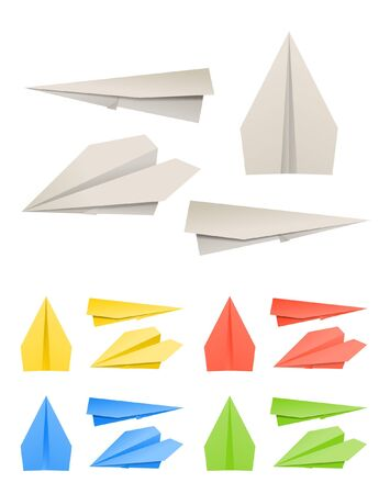 Colorful paper models of planes Stock Vector - 11430478